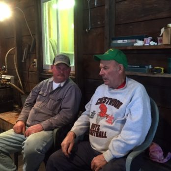 "Rog and Les reminiscing about the ""good old days"" making maple syrup."