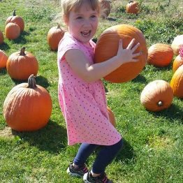 What a beautiful pumpkin, holding a pumpkin!