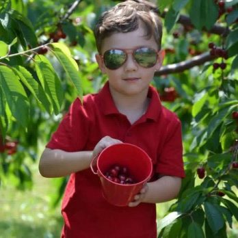 So cool and handsome in the cherry orchard!