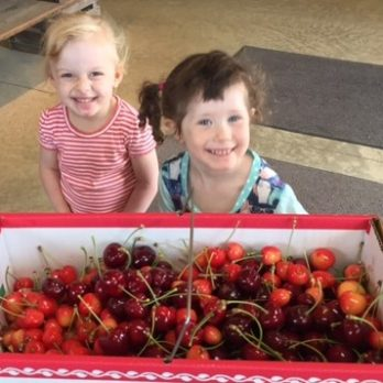 Two cute Pick-Your-Owners in the cherry orchard!