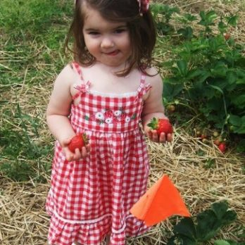 Gracie is making our strawberry patch even prettier!