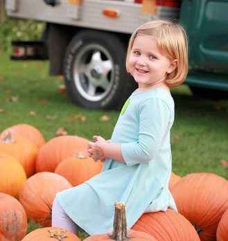 Always a place to get the perfect pic of a beauty, while she picks her own pumpkin!