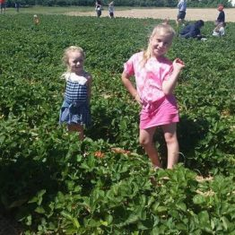 Always fun in the strawberry patch!